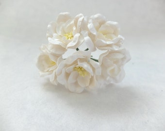 5 - 40mm off white mulberry paper flowers