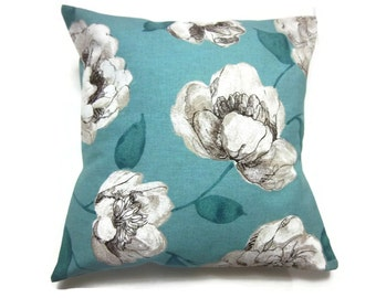 Decorative Pillow Cover Bold Floral Design Turquoise Linen Darkest Brown Same Fabric Front/Back Toss Throw Accent 18x18 inch x