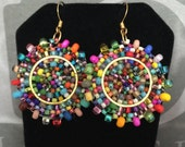 Small Seed Bead Earrings Confetti Splash - Bold Multicolored Disk Earrings