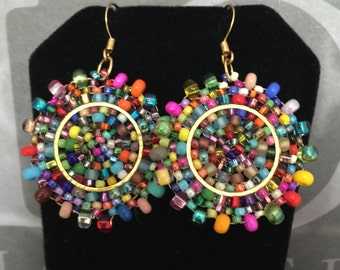 Small Seed Bead Earrings Confetti Splash - Bold Multicolored Disk Earrings