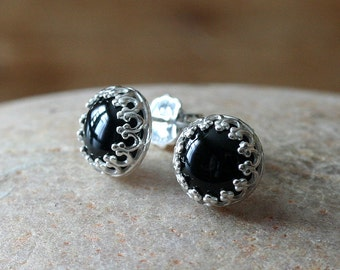 Black Onyx Post Stud Earrings in Sterling Silver • or Your Stone Choice • Gallery Crown Princess Bezel • Gemstone • Gift for Her • Womens