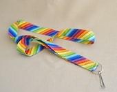 Rainbow Stripes diagional  - handmade fabric lanyard