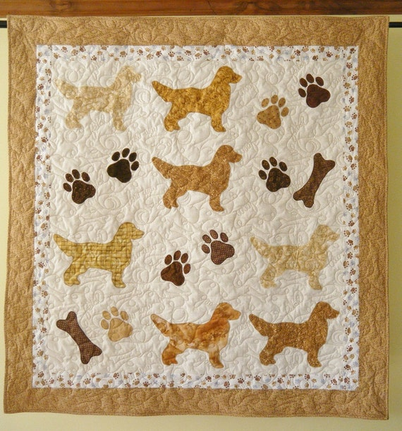 Golden Retrievers Quilt Throw Size 54 X 54 Inches