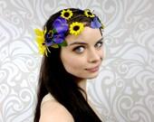 ON SALE, Fairy Headdress, Floralcrown, Costume Headpiece, Bridesmaid, Vine Headband, Woodland Crown, Yellow and Purple Flower Crown