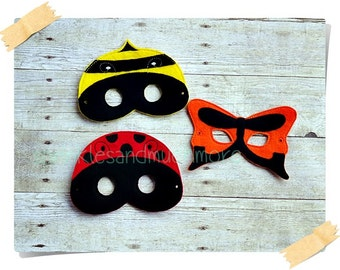 Insect Mask, Felt Masks, Bee Mask, Butterfly Mask, Ladybug Mask, Spring Play, Pretend Play, Creative Play Mask--Set of all 3