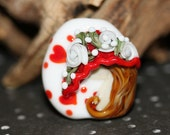 Lampwork Glass Focal Garden Hat Series Red White Hearts