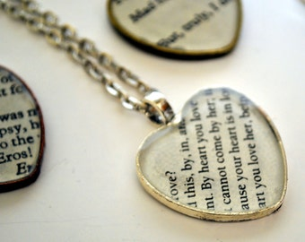 Custom Heart Shakespeare Necklace - Recycled Book Jewelry