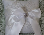 WHITE or Ivory Satin Ring Bearer Pillow with Satin Sash, Alencon Lace with Pearls Rhinestone Bling-Choice of Lace Color