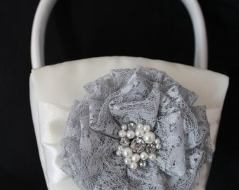 White or Cream Flower Girl Basket with Gray Lace Flowers and Pearls and Rhinestone Cluster in Center