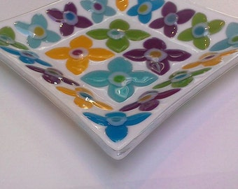 Fused glass dish Fleur yellow turquoise pink lime