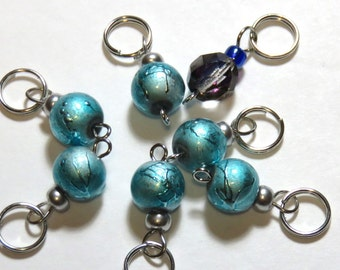 Hand Made Stitch Markers -- Ice Blue