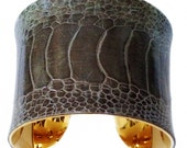 Grey Ostrich Leather Cuff Bracelet - by UNEARTHED