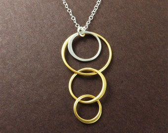 Gold Ring-n-Ring Necklace Geometric Jewelry Gift for Fashionistas under 50 Everyday Necklace for Minimalist