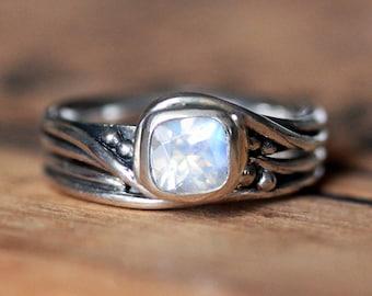 Moonstone engagement ring set, rainbow moonstone engagement ring silver, moonstone wedding set, rustic wedding ring, Pirouette, custom made