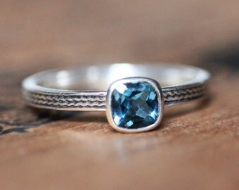 London blue topaz ring, December birthstone ring, silver stacking ring, stackable birthstone ring, braided silver ring, bezel ring, custom