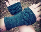 Dark Teal Cabled Fingerless Mitts based on Claire's Mitts in Outlander