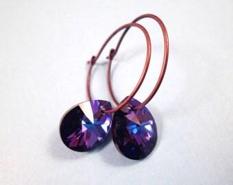 Crystal Drop Hoop Earrings, Violet Purple Swarovski Crystals, Copper Hoop Earrings, Dangle Earrings, FREE Shipping U.S.