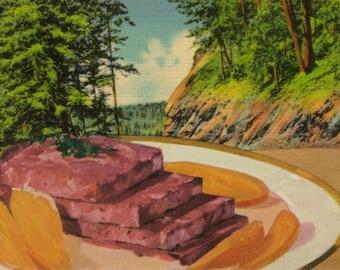 Original Collage on Paper, Retro Kitsch Art, Weird Stuff, Odd Food, Strange Kitchen Decor, Surreal Landscape Art, Collage Postcard