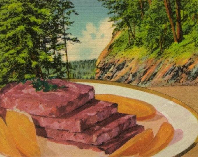 Weird Stuff, Strange Food Art Collage, Odd Landscape Postcard