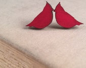 Cardinals Stud Earrings / Tiny  Studs / Posts / Red, Cherry / St Louis Cardinals / Sports Team / Modern Jewelry
