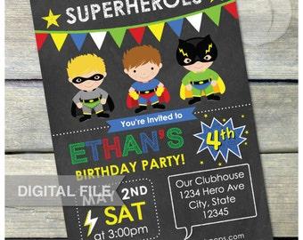"Superheroes Boys Birthday Party Invitation Chalkboard Super Hero - Digital Invite - 5"" x 7"" - Digital Printable"