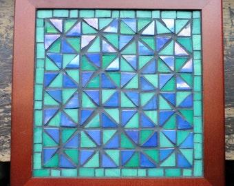 Colorful Pinwheel Mosaic Trivet in Green and Periwinkle