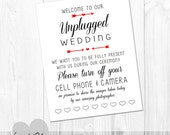 PRINTABLE Arrow and Hearts UNPLUGGED Wedding Sign - INSTANT Download