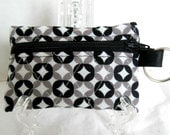 Quilted Coin Purse - Black Grey Change Purse - Coin Purse Key Ring - Grey Modern Small Zip Pouch