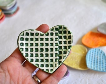 Have a Heart - Small Heart Dish/ Trinket Dish/ Ring Dish in Dark Green and White in a Grid Pattern