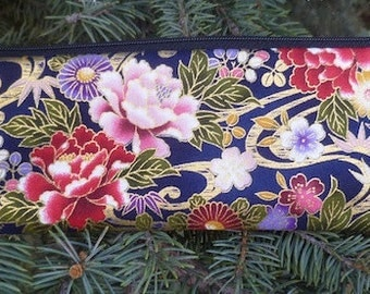 Japanese chopstick pouch, knitting needle pouch, crochet hook pouch,Japanese Beauty, long pen and pencil case, Peonies and Mums, The Sleek