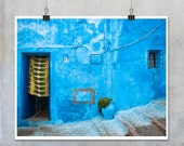 Moroccan Art Print - Blue House Door with Green and Yellow Curtain - 10x8 22x14 20x30 photograph wall art home decor big print original