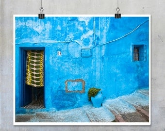 Travel photography Blue House Door with Green Yellow Curtain Morocco Chefchaouen photograph wall art home decor big print poster fine art