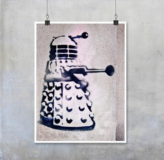 Doctor Who Art: Dalek stencil art graffiti photograph London urban art black grey pink big print poster graffiti home decor