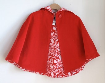 Little Red Riding Hood Cape Toddler Girls Cape with Red & White Scroll Lining - Girls Size 5/6 - cape, cloak, coat, jacket, hoodie