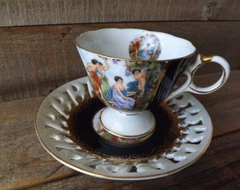 Teacup and Saucer, Royal Halsey, Lipper and Mann, China Teacup, Cup and Saucer, Fine China, Pedestal Teacup, Tea Party, Black and Gold