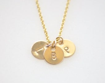 Personalized Gold charms necklace - 3 Initials customized necklace - delicate gold filled chain - tiny small charms - Tiny 3 initials gold