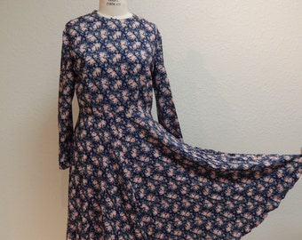 Vintage 1992 Blue with Pink Flowers Rayon Dress