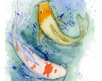 Two Koi Fish - Watercolor Print - Zen - Koi Print - Fish Art - Koi Art