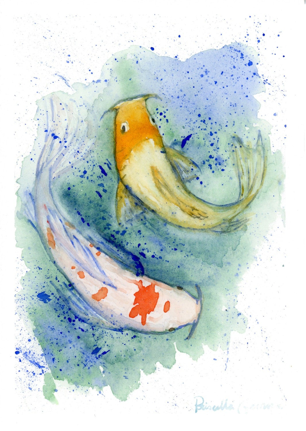 Two koi fish watercolor print zen koi print fish art for Koi fish paintings prints