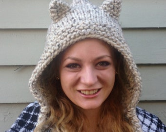 hand knit hood hat cat hood hat cat ears womens accessories winter hat womens hood hat ~ hood cat ears ~  Made to Order