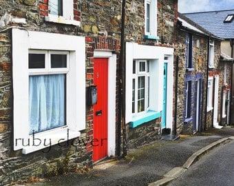 Portaferry Rowhouses, Co. DOWN, Northern IRELAND, Ards Peninsula, Red Door, Blue Door, Ulster, The Port, Seaside, Quintessential UK Street