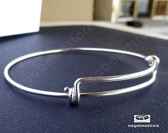 14 Gauge Thick Sterling Silver Adjustable Bangle Bracelet F445