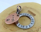 Custom hand stamped metal copper and aluminum dog puppy name and phone number tag with clasp