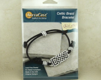 Celtic Braid Bracelet - TierraCast Quick Kit - Irish St Patricks Day Knot Leather - American Made Lead Free Pewter - I ship Internationally