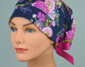 SMALL Surgical Scrub Cap or Cancer Hat -Perfect Fit Tie Back with Ribbon Ties - ZINNIA PAISLEY