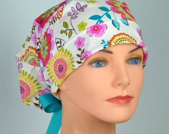 Scrub Hats // Scrub Caps // Scrub Hats for Women // The Hat Cottage // Small // Ribbon Ties // Vintage Bloom