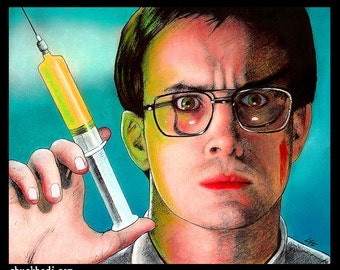 "Print 8x10"" - Herbert West - Re-Animator Reanimator HP Lovecraft Jeffrey Combs Dark Art Comedy Sci Fi Horror Glasses Pop Art Medical Lowbrow"