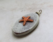 Beach Jewlery, Starfish Orange Pendant