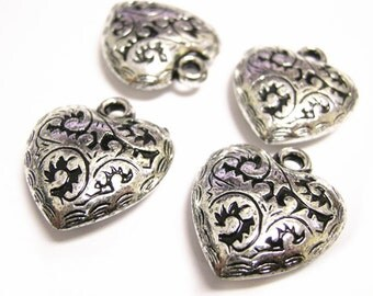 8pc 27x24mm antique silver finish acrylic heart pendants-B15