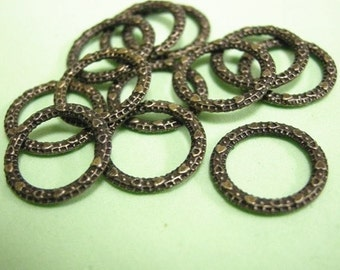 12pc Antique Bronze Plateded Hammered Ring Connector Joiner-1425
